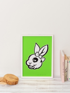 ウサギギャラリー(USAGI Gallery)の[USAGI Gallery]RIBBON USAGI NEON GREEN ポップアート