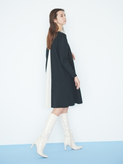CELFORD/【NEW Year Special Knit Dress】バイカラーAラインニットワンピース/膝丈/ミディ丈ワンピース