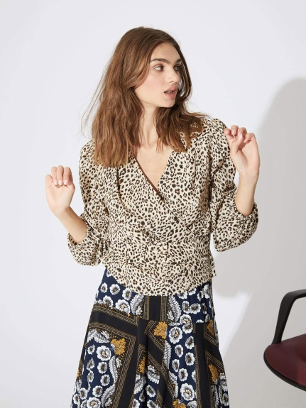 GHOSPELL/Leopard Wrap Blouse/シャツ/ブラウス