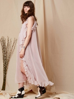 GHOSPELL/Trekking Ruffle Maxi Dress/マキシ丈/ロングワンピース