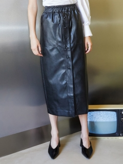 GHOSPELL/Off-air Faux Leather Midi Skirt/膝丈/ミディ丈スカート