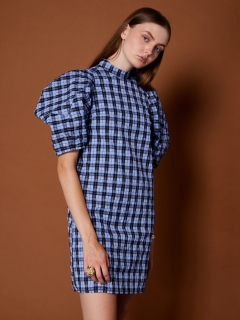 GHOSPELL/Marquetry Check Puff Sleeve Mini Dress/ミニワンピース