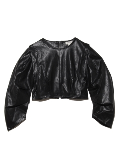 GHOSPELL/Balanced Form Faux Leather Top/スウェット