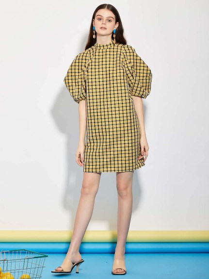 GHOSPELL/Check Out Puff Sleeve Mini Dress/ミニワンピース