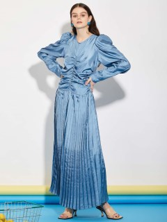 GHOSPELL/Store Demand Pleated Midi Dress/膝丈/ミディ丈ワンピース