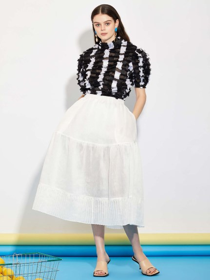 GHOSPELL/Department Sheer Midi Skirt/マキシ丈/ロングスカート