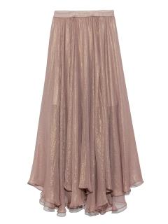 309628ae4a92e Lily Brown 光沢シースルーフレアスカート 膝丈 ミディ丈スカート