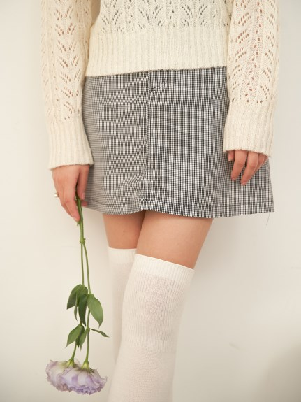 MEME Vintage/gingham Check skirt/膝丈/ミディ丈スカート