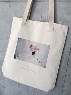 Philly chocolate/pink flower tote(Photo)/トートバッグ