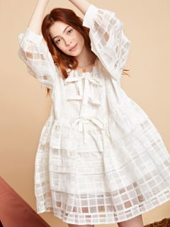 sister jane/Sheer Check Smock Dress/ミニワンピース
