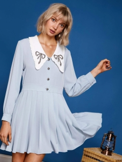 sister jane/Mini Dress with Ruffle Bow collar/ミニワンピース