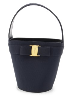 USAGI Vintage/Salvatore Ferragamo/bucket handbag navy/ハンドバッグ