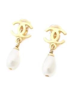 USAGI Vintage/CHANEL/fake pearl charm earrings/イヤリング