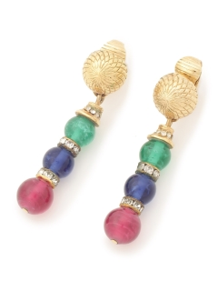USAGI Vintage/Christian Dior/color glass charm earrings/イヤリング