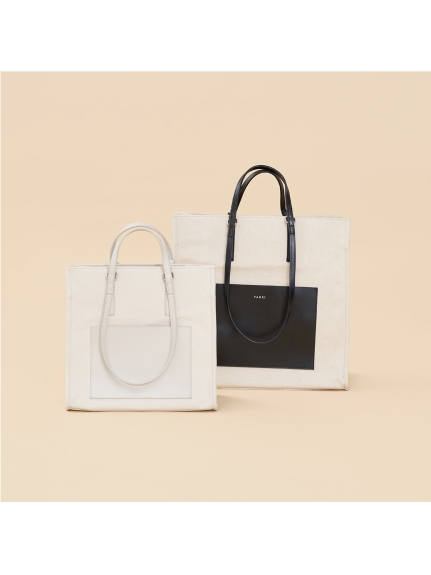YAHKI/Canvas×Leather Square Tote Bag (YH-369)/トートバッグ