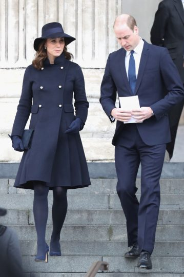 LONDON, ENGLAND - DECEMBER 14:  Catherine, Duchess of Cambridge and Prince William, Duke of Cambridge leave the Grenfell Tower National Memorial Service held at St Paul's Cathedral on December 14, 2017 in London, England. The Royal Family and Prime Minister will join survivors of the Grenfell Tower at the memorial at St Paul's Cathedral for the six-month anniversary which killed 71 people. About 1,500 people are expected to attend the multi-faith service.  (Photo by Chris Jackson/Getty Images)