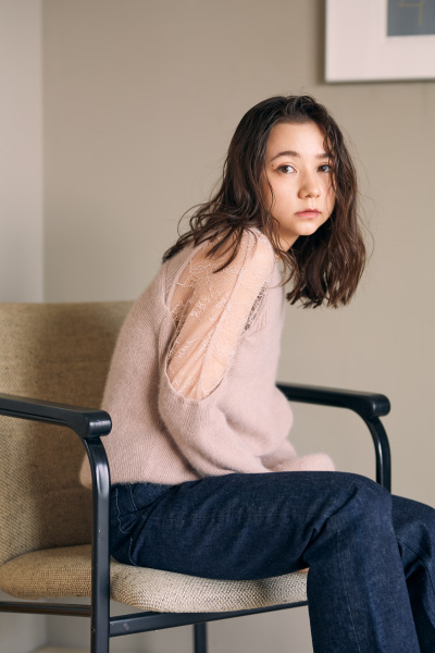 【SNIDEL】Chiffon Small Off Shoulder Knitted Long Sleeve Top SWNT211012